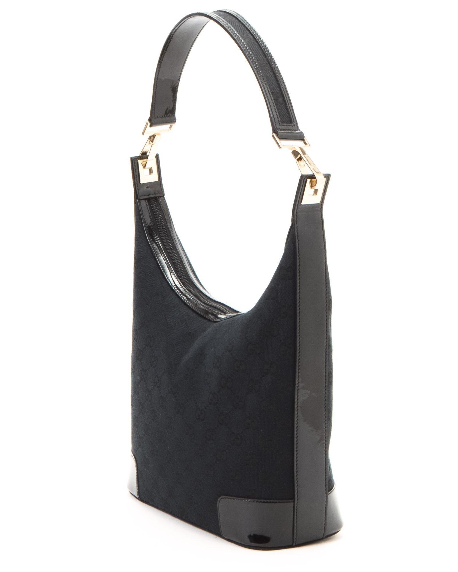 gucci black shoulder bag vintage in black lyst