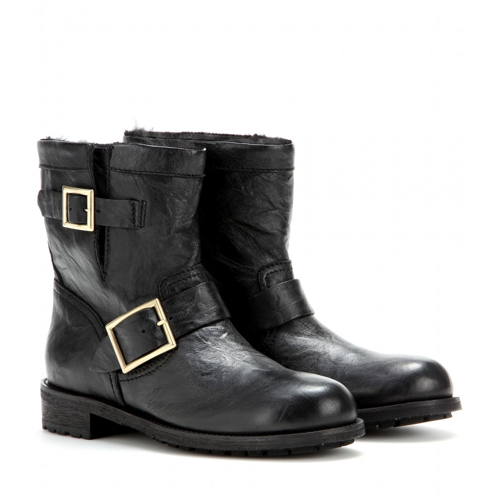 jimmy choo youth fur lined biker boots in black lyst. Black Bedroom Furniture Sets. Home Design Ideas