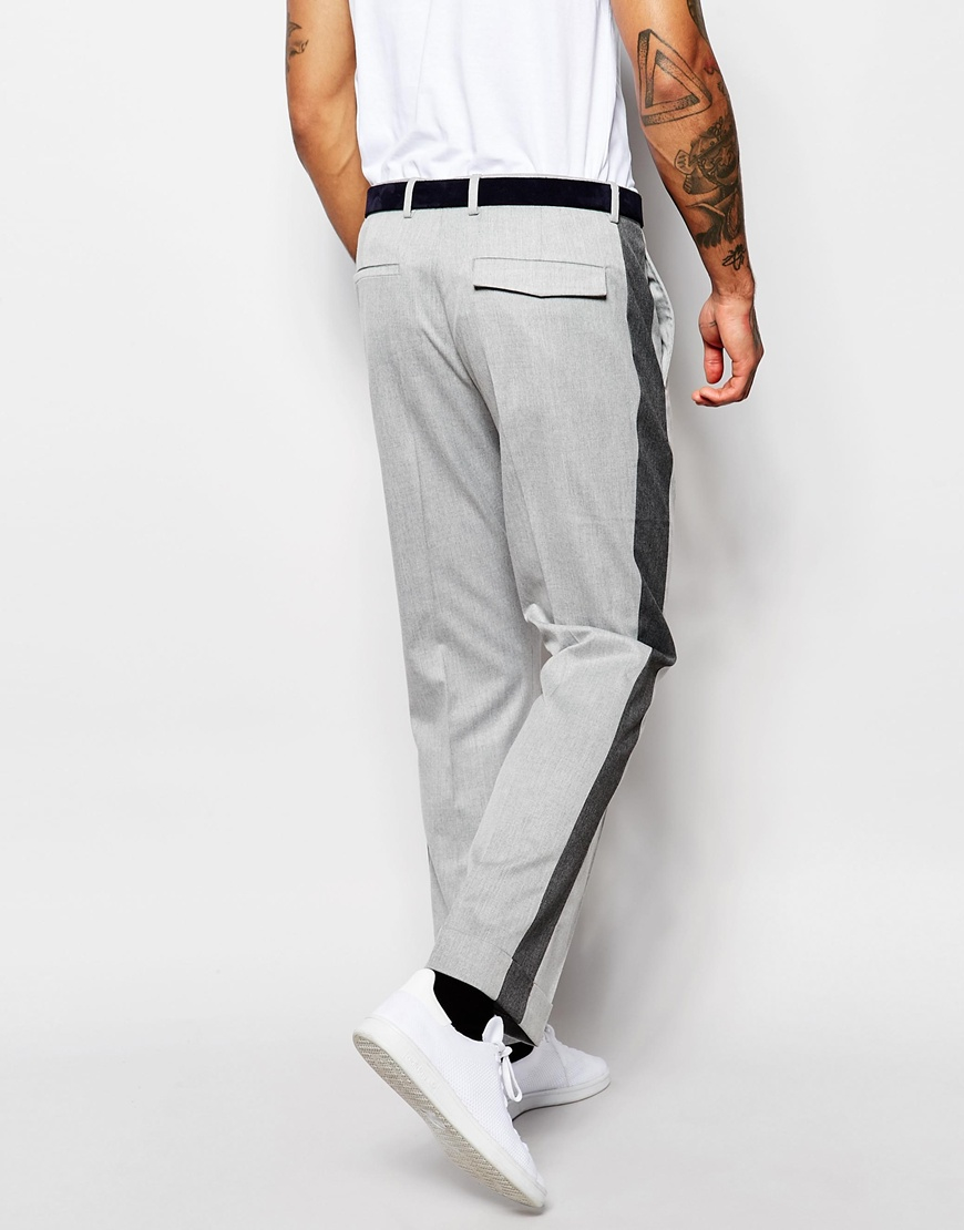 Asos Mens Wide Leg Pants With Side Stripe Gray - Suits