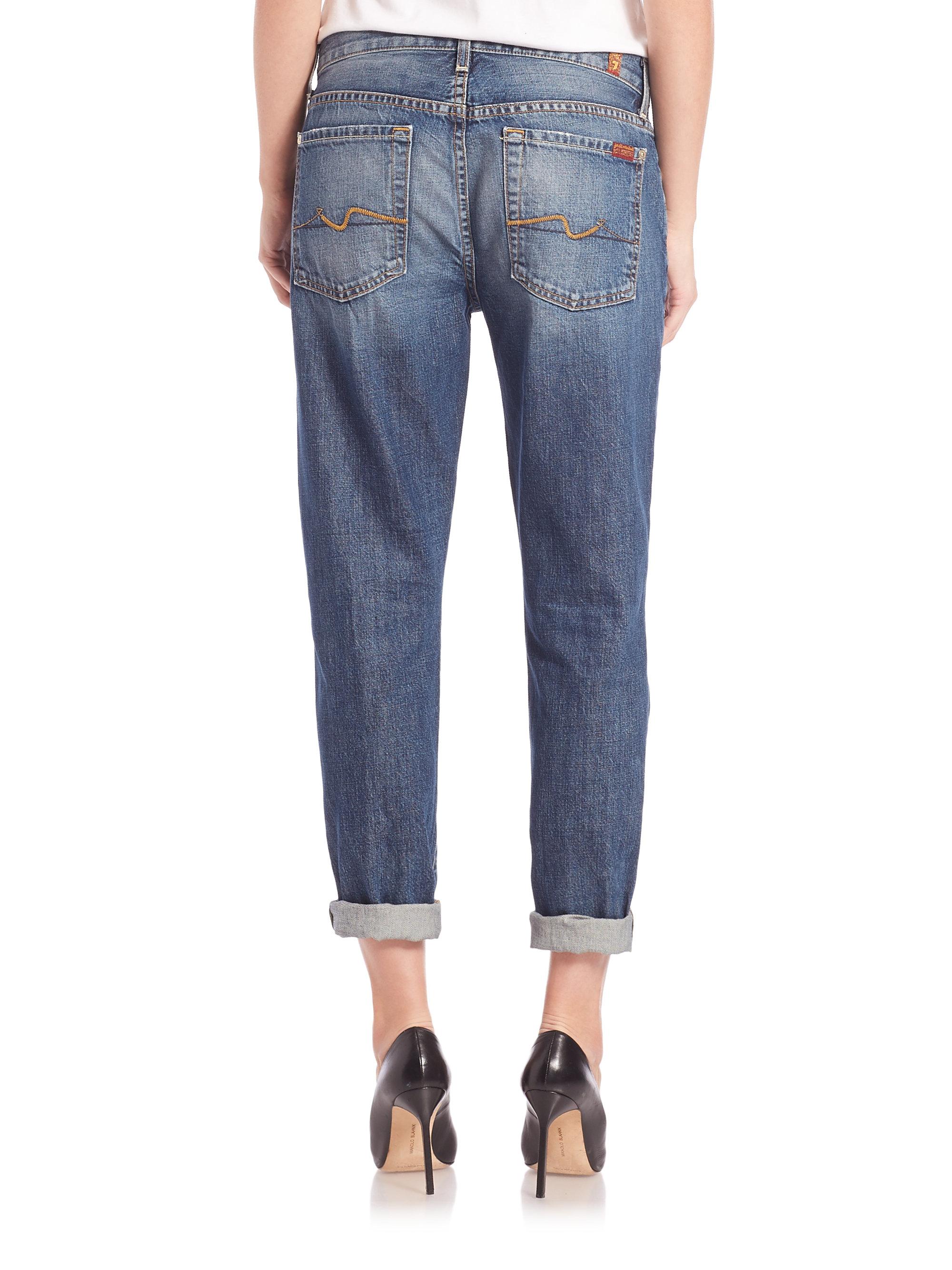 for all mankind josefina aggressive destruction jeans in blue lyst. Black Bedroom Furniture Sets. Home Design Ideas
