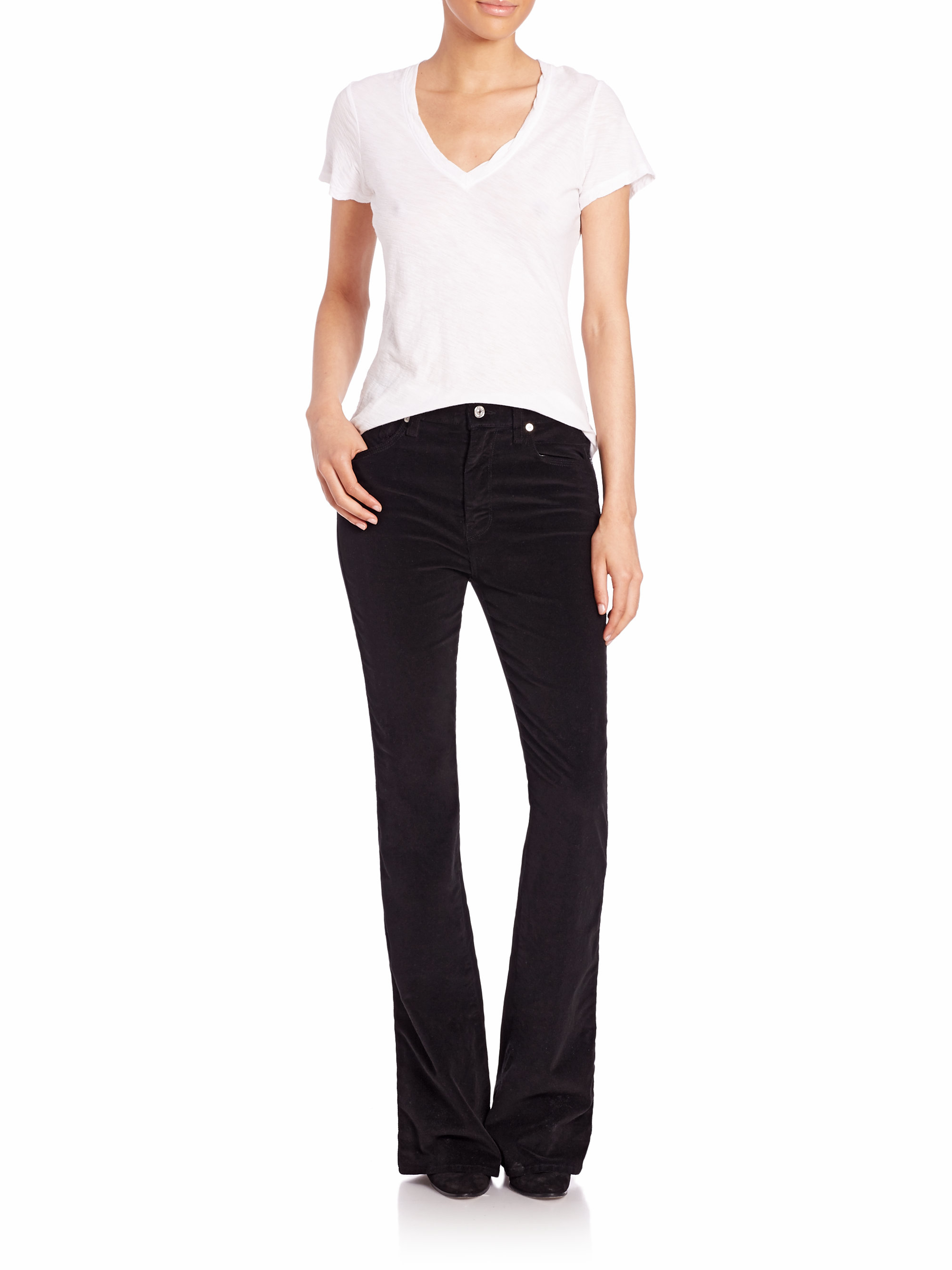 7 for all mankind High-rise Corduroy Flared Jeans in Black | Lyst