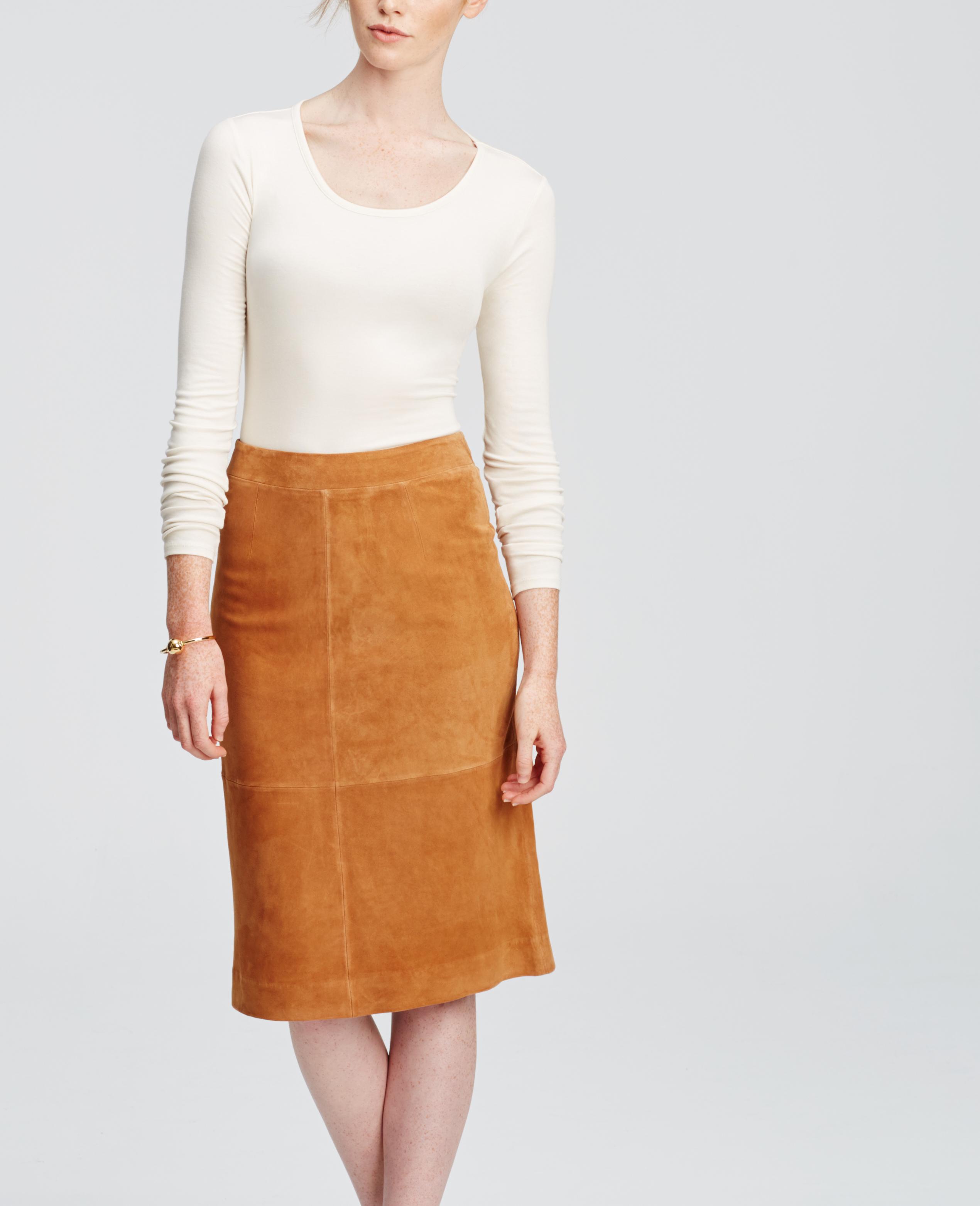 Ann taylor Suede Midi Skirt in Brown | Lyst
