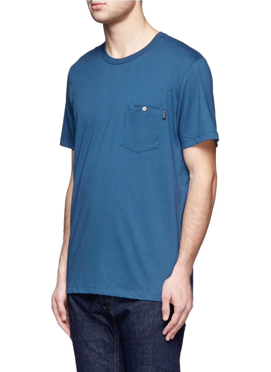 Paul Smith Organic Cotton Pocket Tshirt In Blue For Men