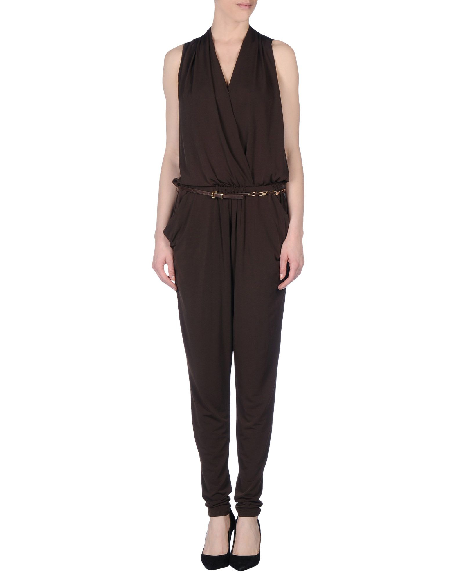michael michael kors pant overall in brown lyst. Black Bedroom Furniture Sets. Home Design Ideas