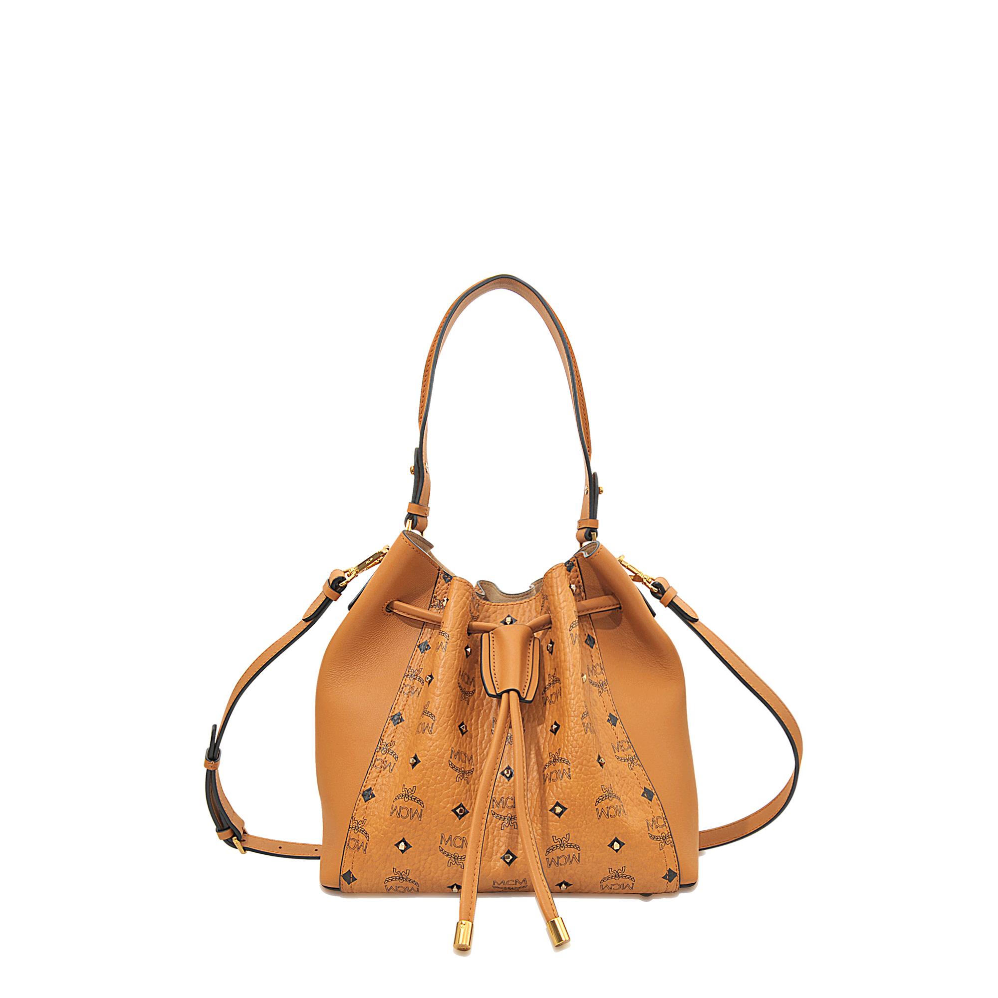 Mcm Gold Visetos Drawstring Medium Bag in Orange | Lyst