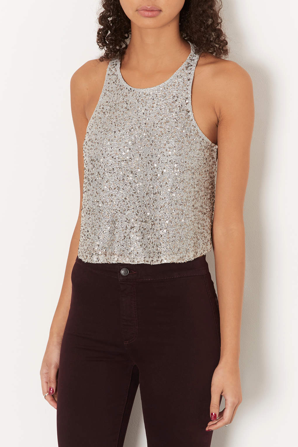 ff290d72ea3 TOPSHOP Petite All Over Sequin Shell Top in Metallic - Lyst