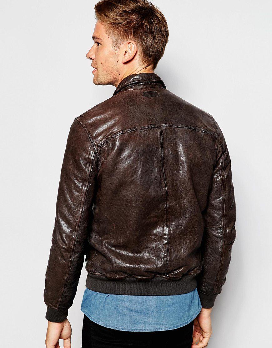 lyst pepe jeans pepe leather jacket indiana slim fit. Black Bedroom Furniture Sets. Home Design Ideas