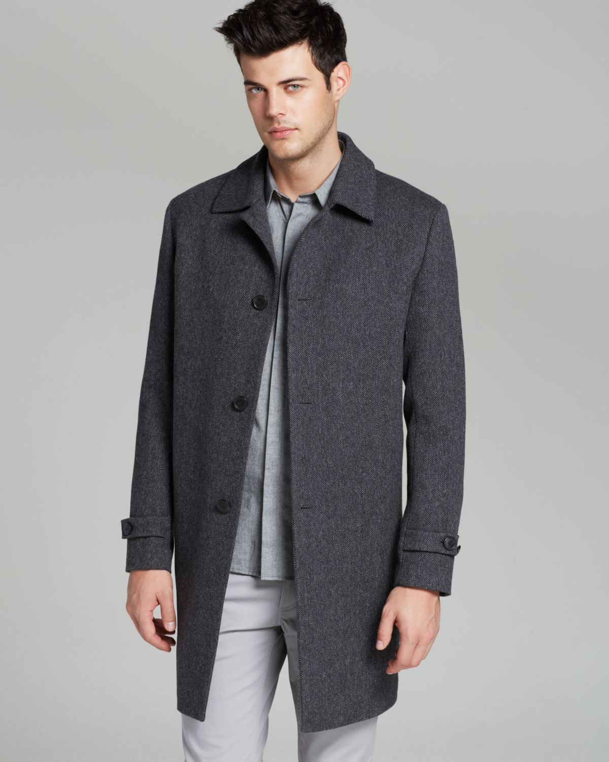 Theory Wallice Vandrien Herringbone Coat in Gray for Men | Lyst