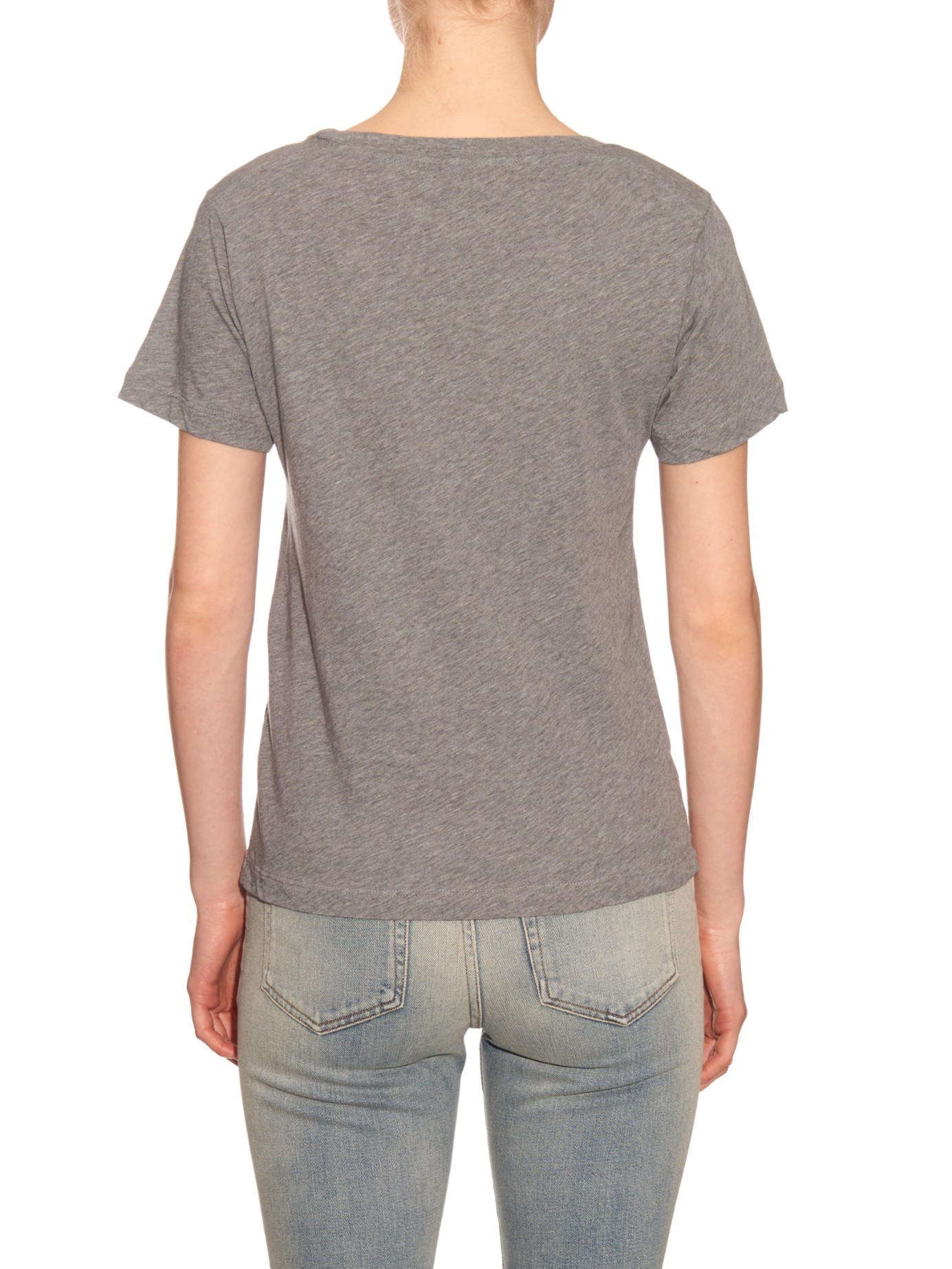 Saint laurent distressed cotton jersey t shirt in gray lyst for Saint laurent shirt womens
