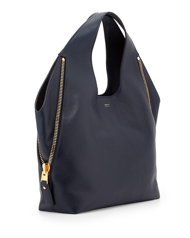 Lyst - Tom Ford Jennifer Side-Zip Leather Hobo Bag in Blue bea3925b1d4a0