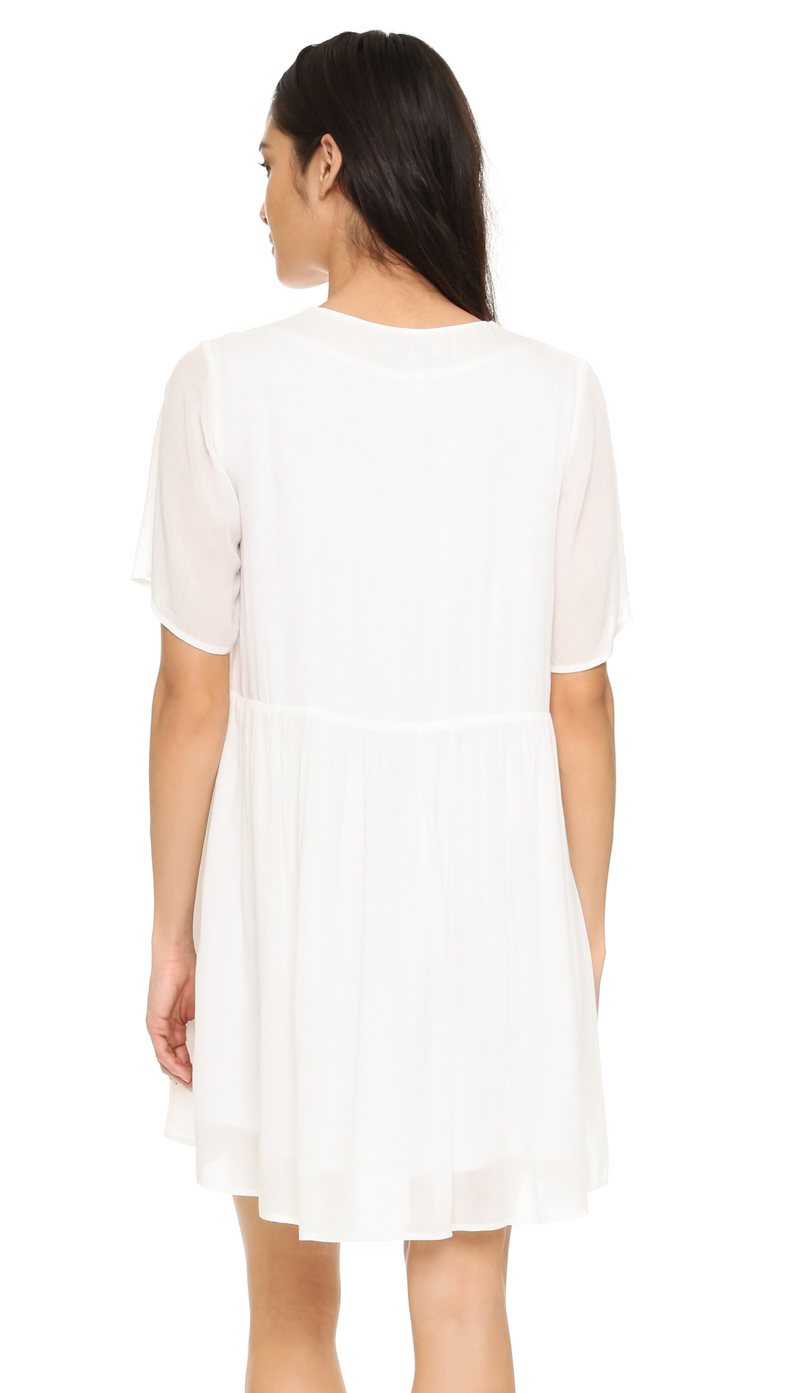 suncoo cerise lace up tunic dress in white lyst. Black Bedroom Furniture Sets. Home Design Ideas
