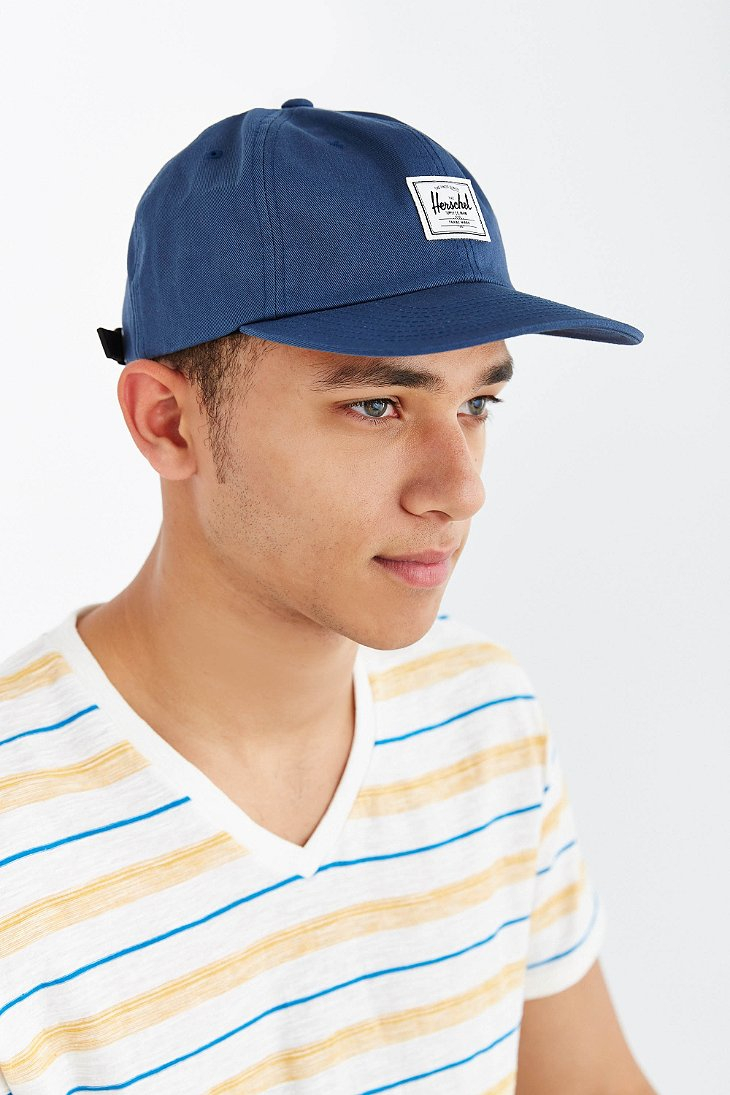 ... clearance lyst herschel supply co. albert strapback hat in blue 10455  fe7d0 773df09da9ee