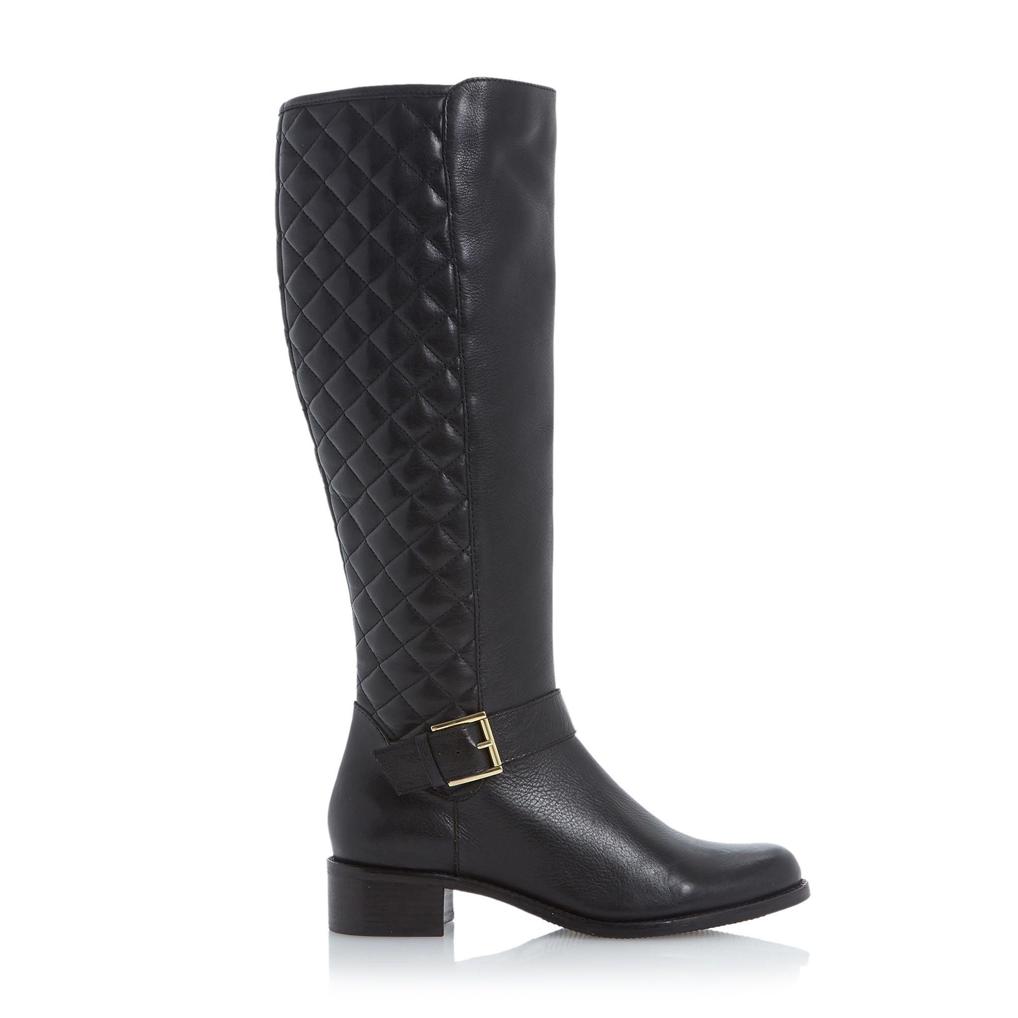 dune torin quilted leather knee high boot in black black