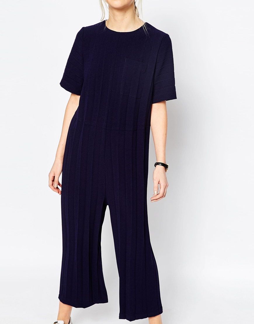 Asos Jumpsuit In Pleated Crepe Blue Navy Save 31