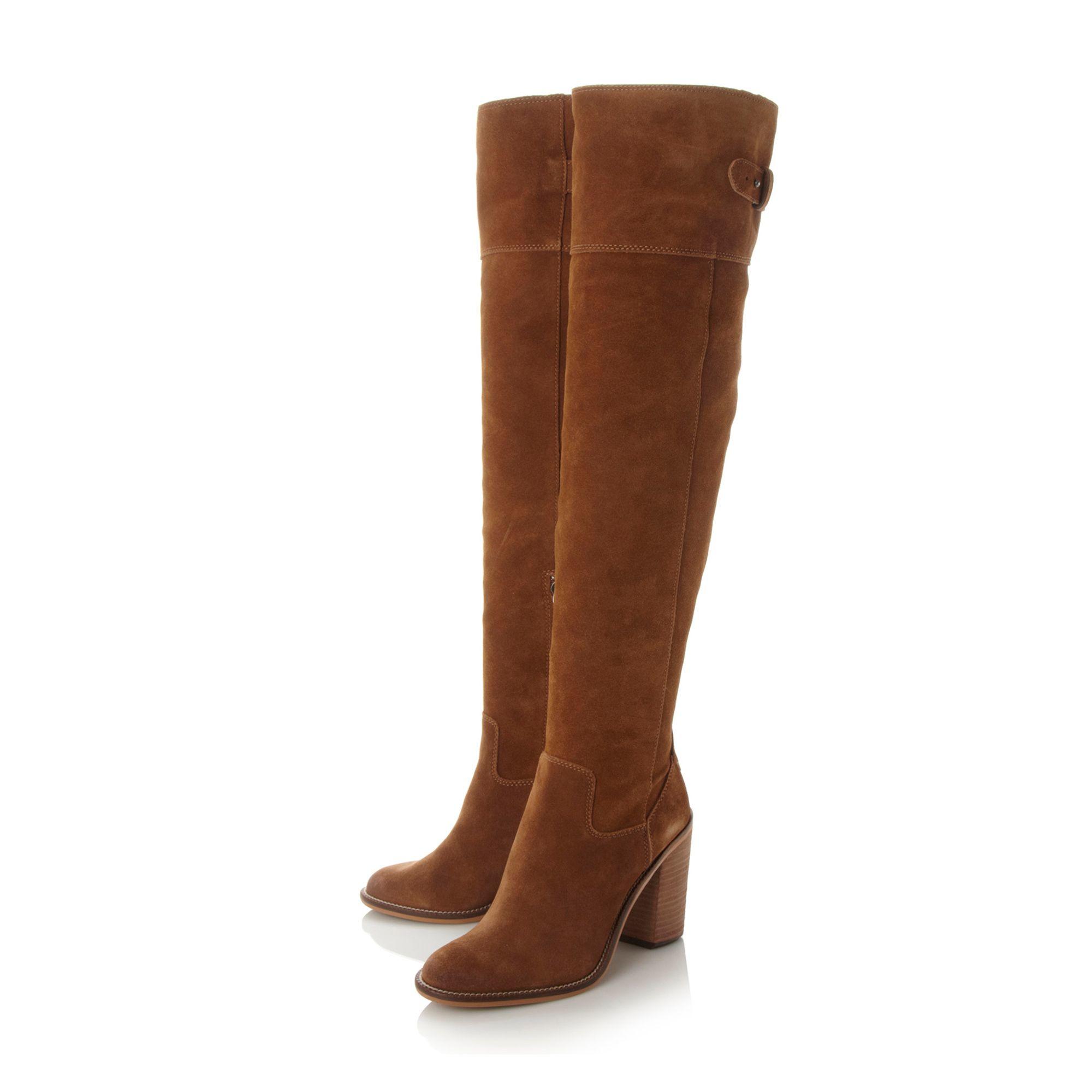 dolce vita okana knee high block heel boots in brown lyst