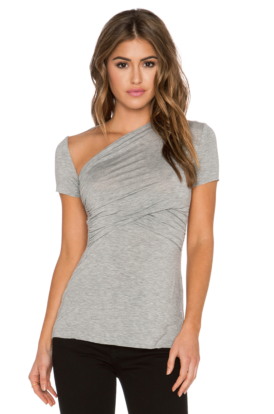 bailey 44 toto wrap top in gray lyst