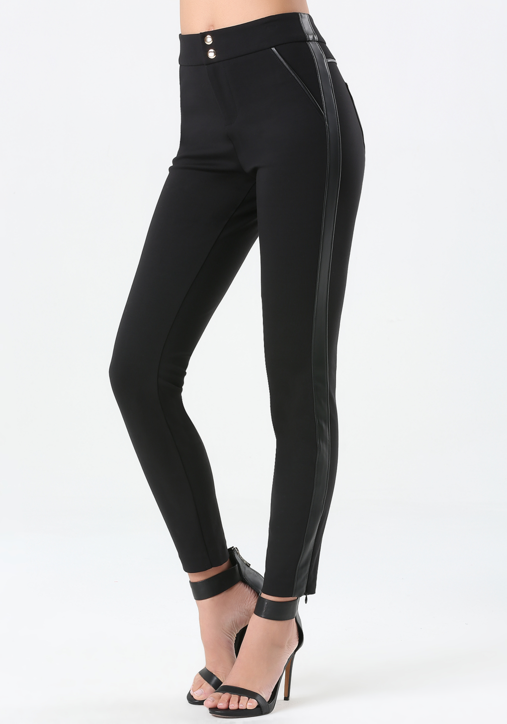 Bebe Ponte Amp Faux Leather Pants In Black Lyst