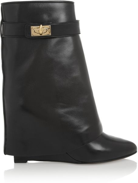 givenchy shark lock black leather wedge ankle boots in