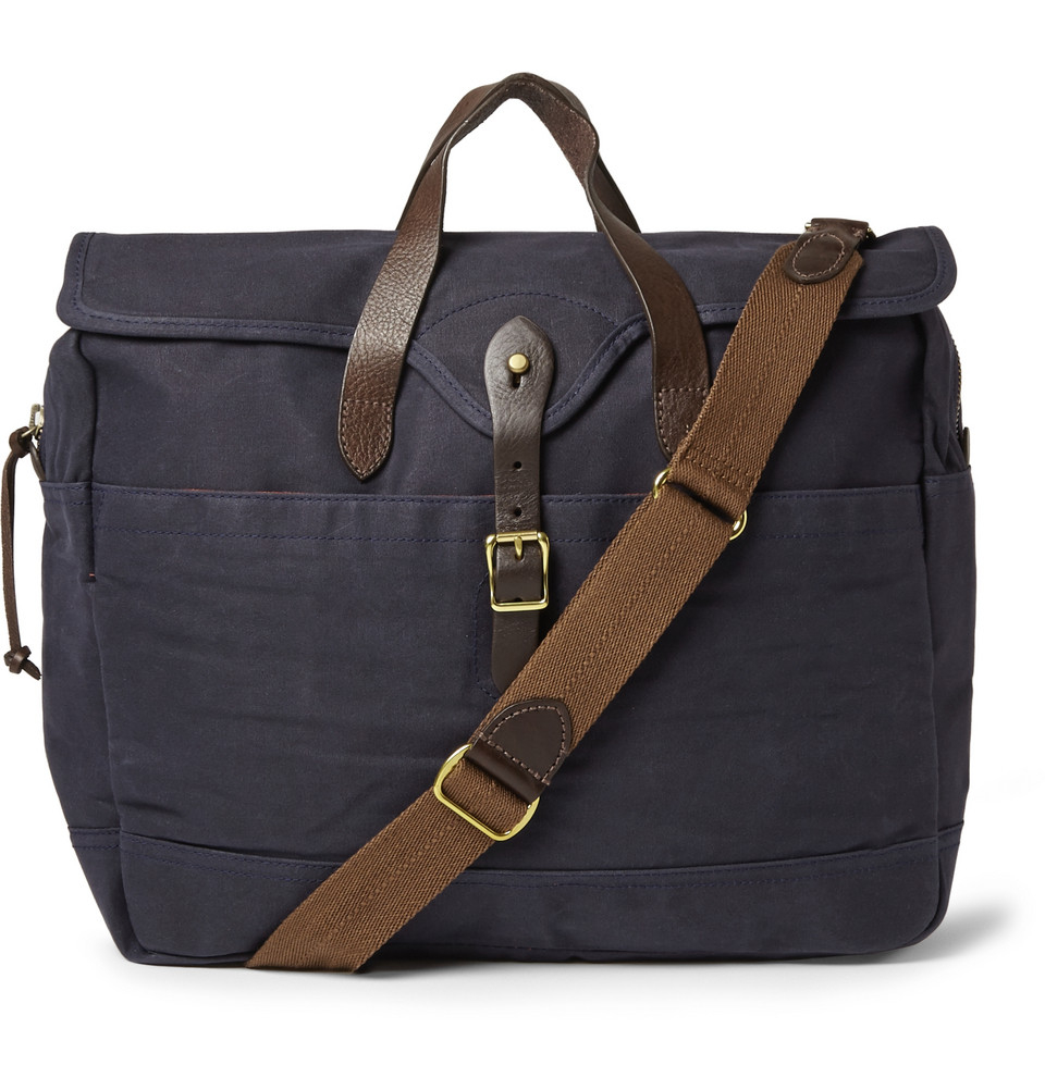 0b249f22e5 Lyst - J.Crew Abingdon Waxed Cotton-Canvas And Leather Laptop Bag in ...