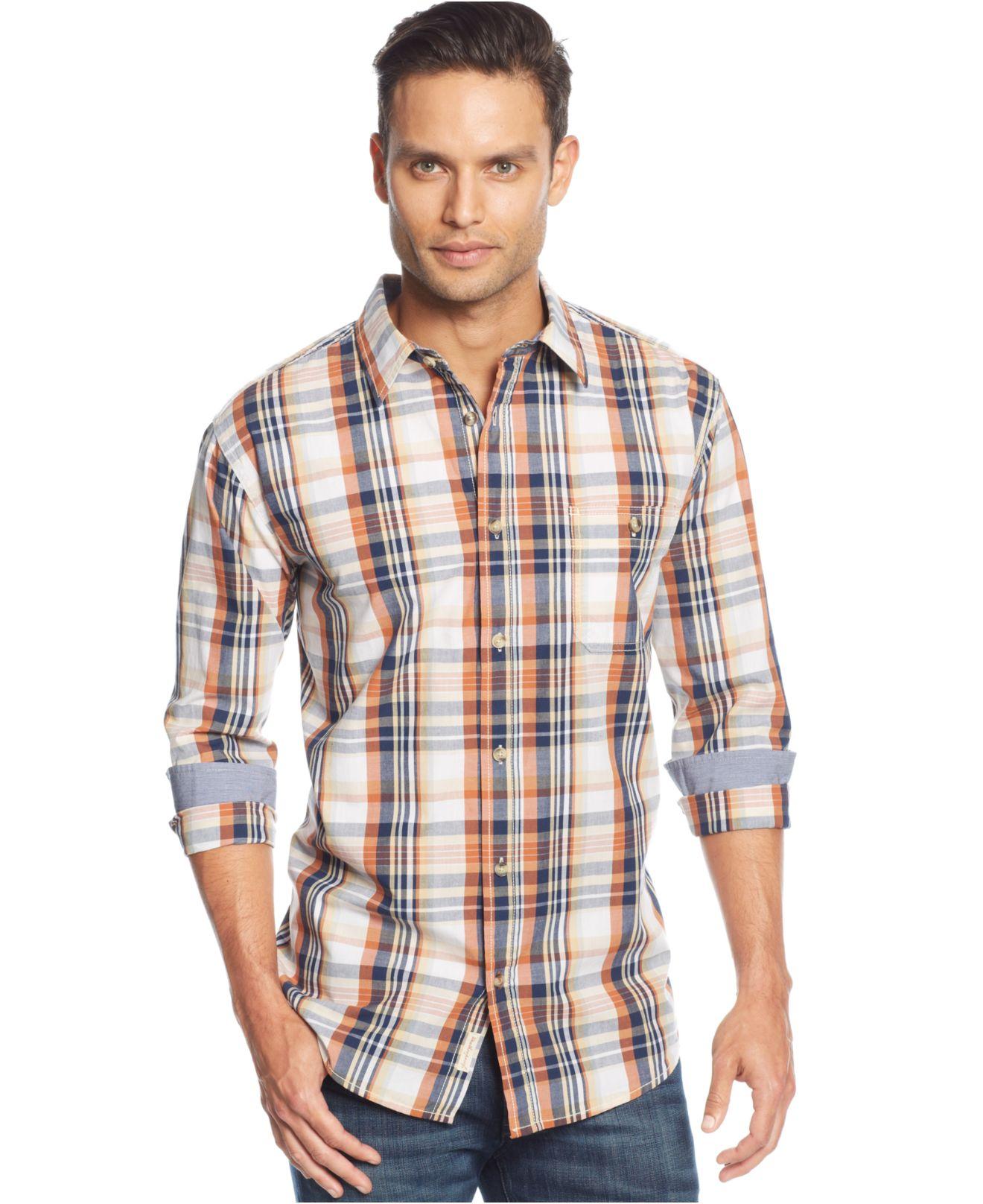 Lyst weatherproof vintage poplin plaid shirt in orange for Weatherproof vintage men s lightweight flannel shirt
