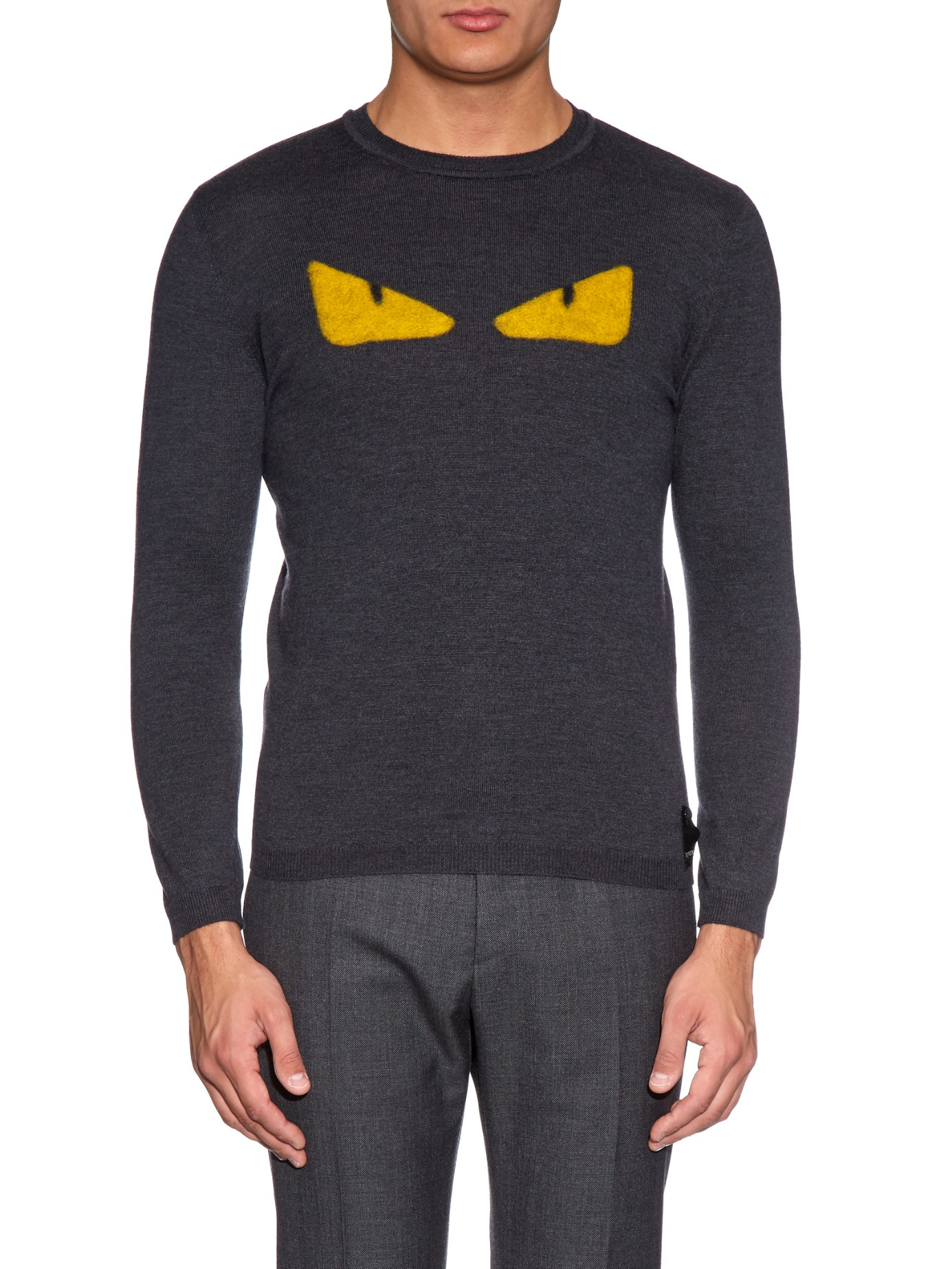 ffffb2a397 ... wholesale lyst fendi bag bugs wool sweater in gray for men 98880 43495