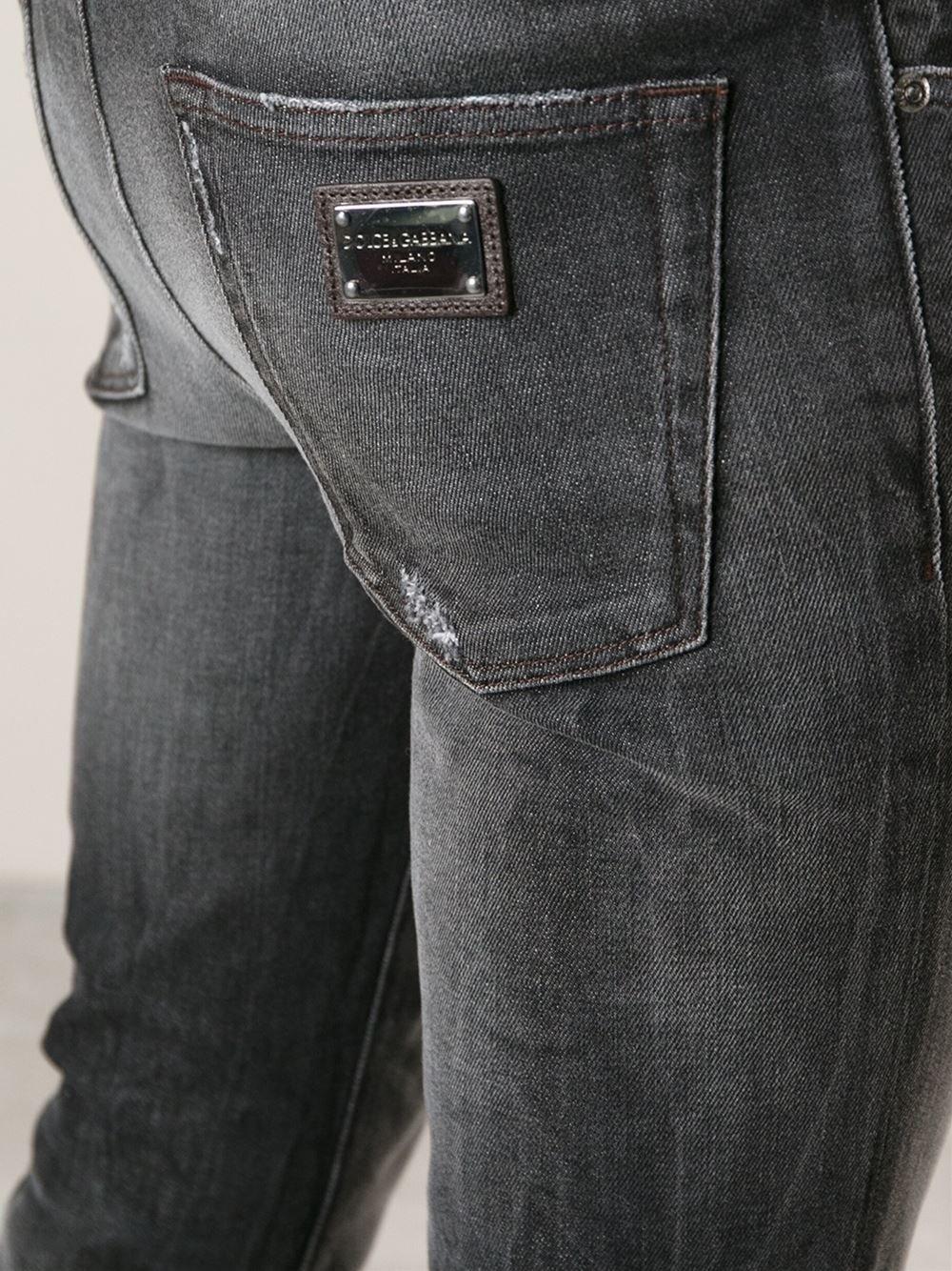 dolce gabbana distressed skinny jeans in gray for men lyst. Black Bedroom Furniture Sets. Home Design Ideas
