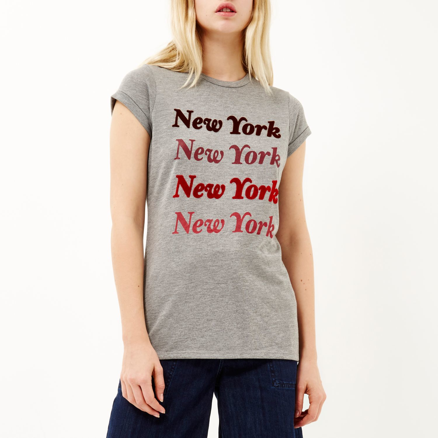 Lyst river island grey new york print fitted t shirt in gray for New york printed t shirts