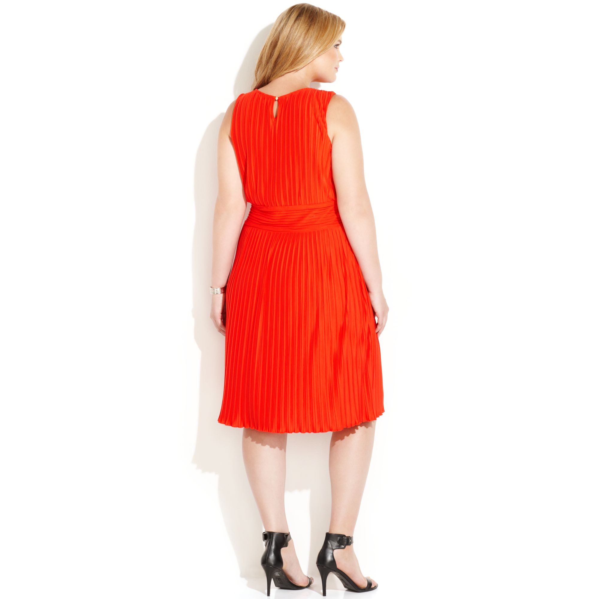 Red plus size calvin klein dress
