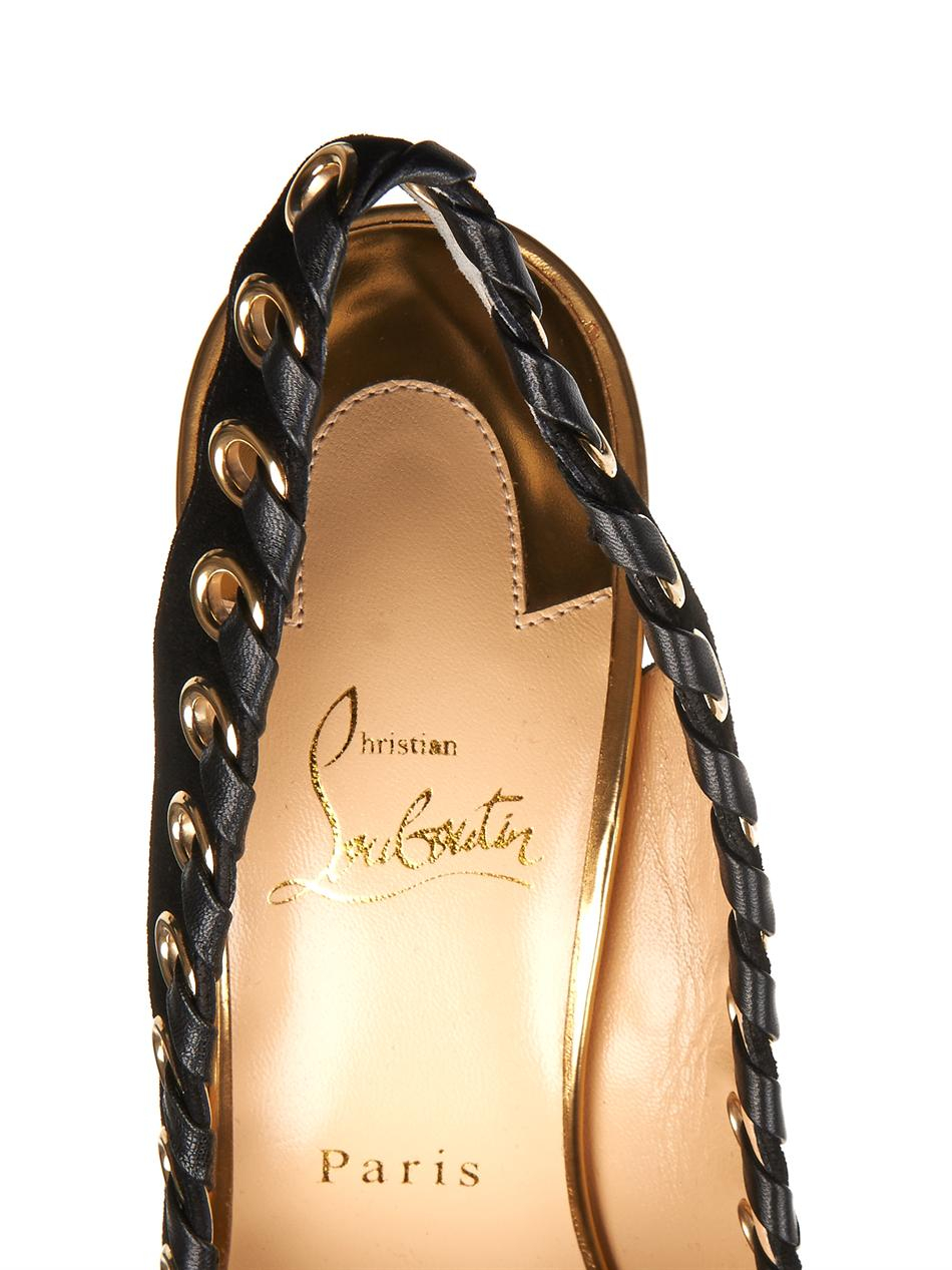 Christian louboutin Ostri Sling 100Mm Suede Pumps in Black   Lyst