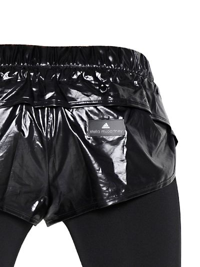 adidas by stella mccartney black shiny nylon shorts