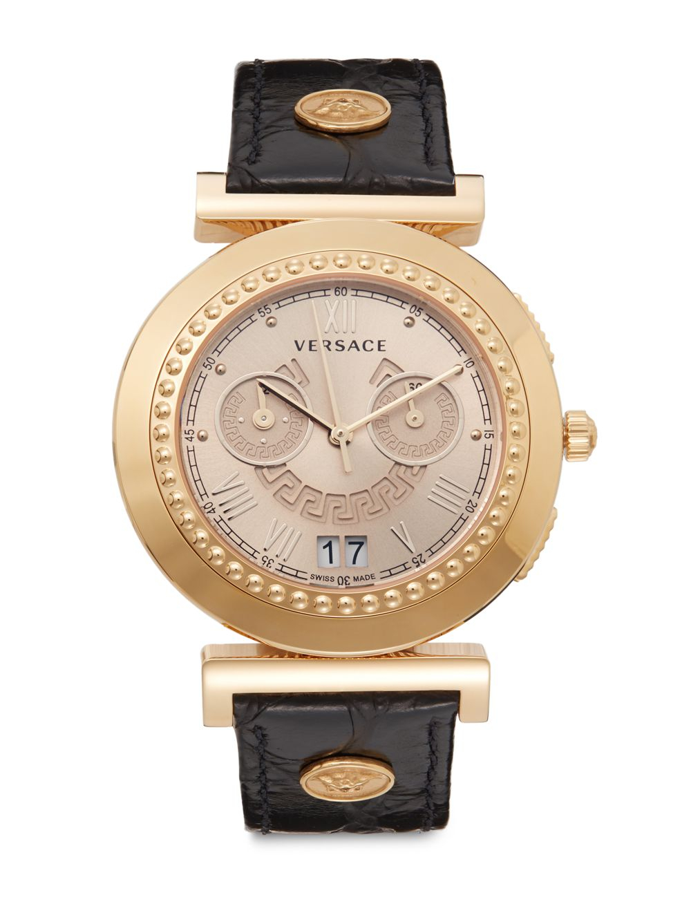 versace vanity chronograph goldtone ip stainless