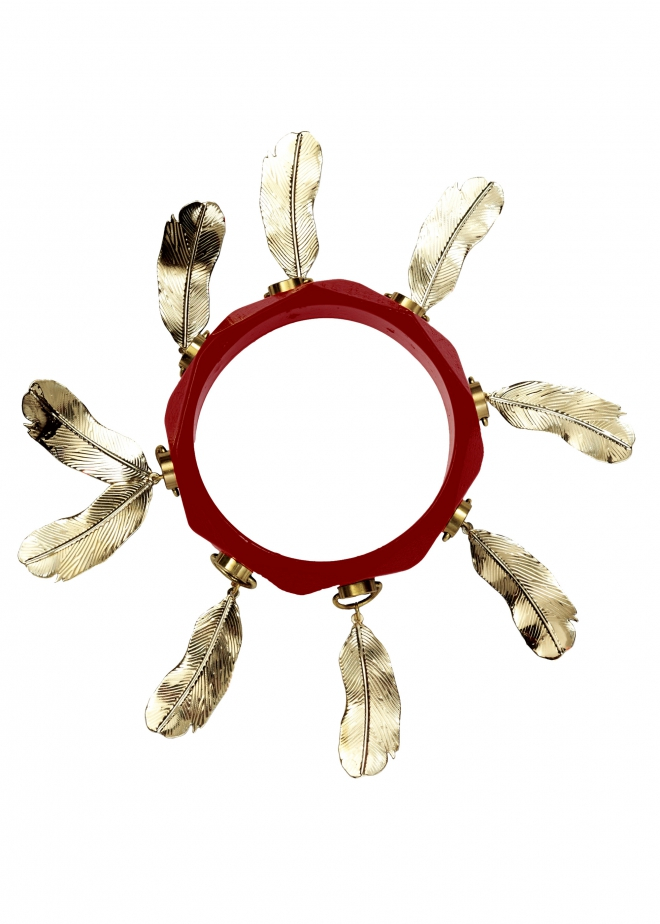 Matthew williamson Red Feather Bangle in Red