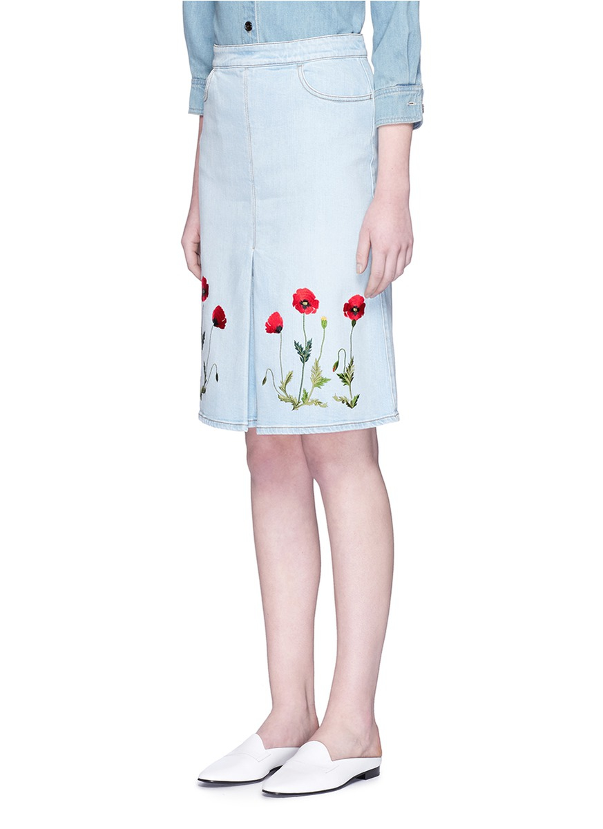 stella mccartney floral embroidery denim skirt in blue lyst