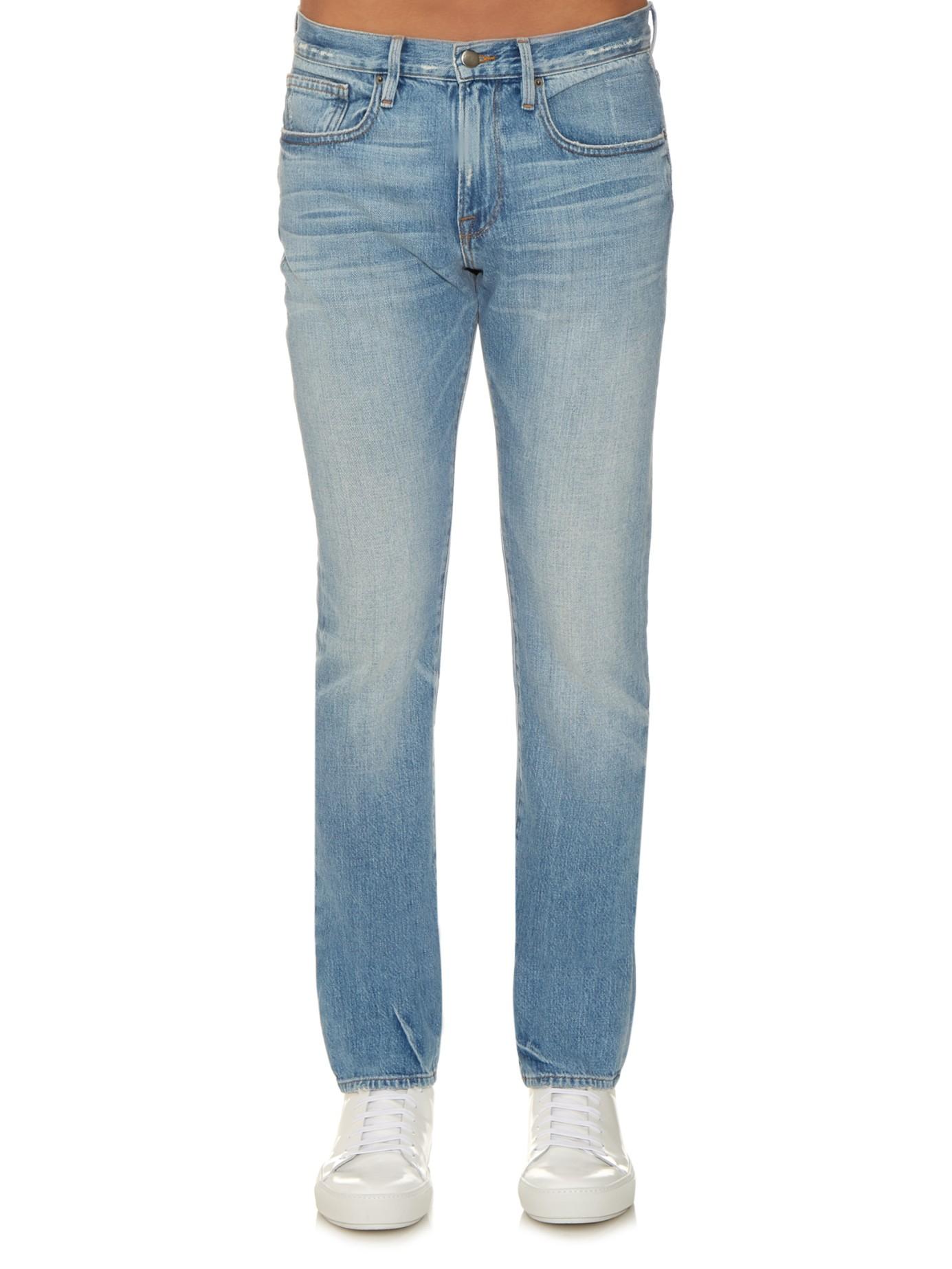lyst frame l 39 homme slim fit jeans in blue for men. Black Bedroom Furniture Sets. Home Design Ideas