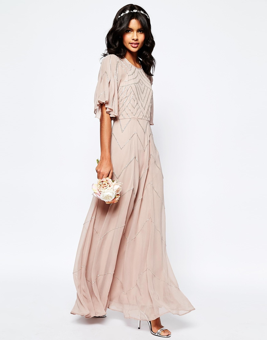 Asos Wedding Embellished Flutter Sleeve Maxi Dress In Pink