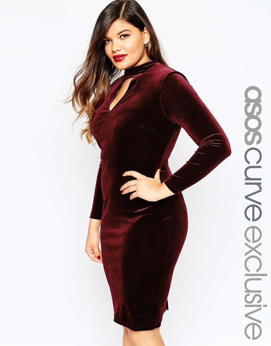V label red dress asos velvet