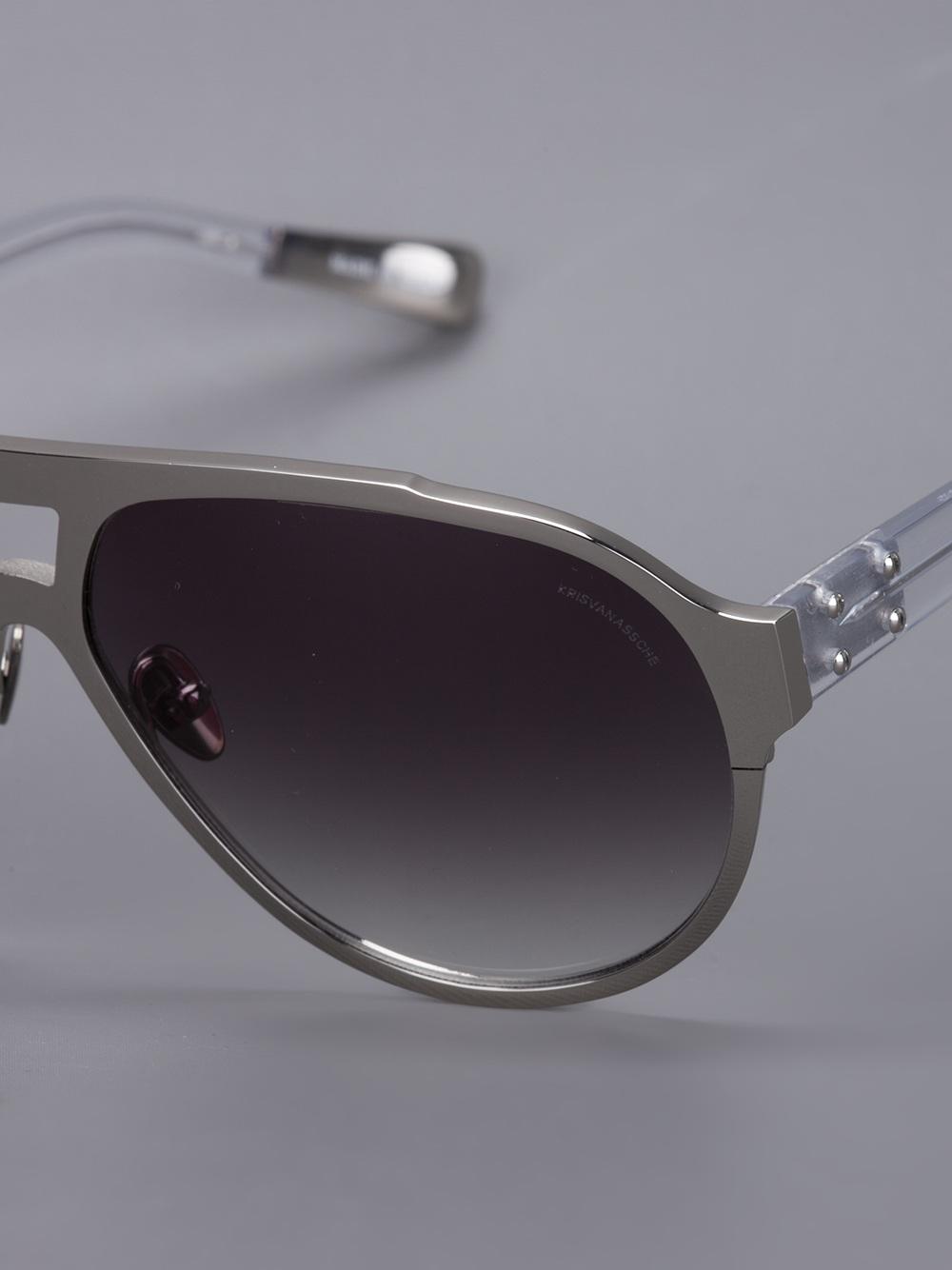 Oakley Fuel Cell Sunglasses >> Kris Van Assche Aviator Frame Sunglasses in Metallic (Gray) for Men - Lyst