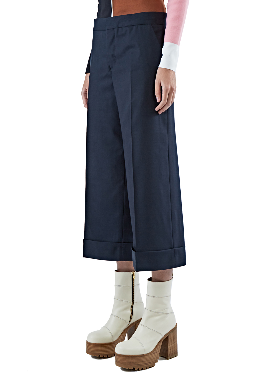 Marni Women's Lightweight Cropped Wide Leg Pants In Navy in Blue ...