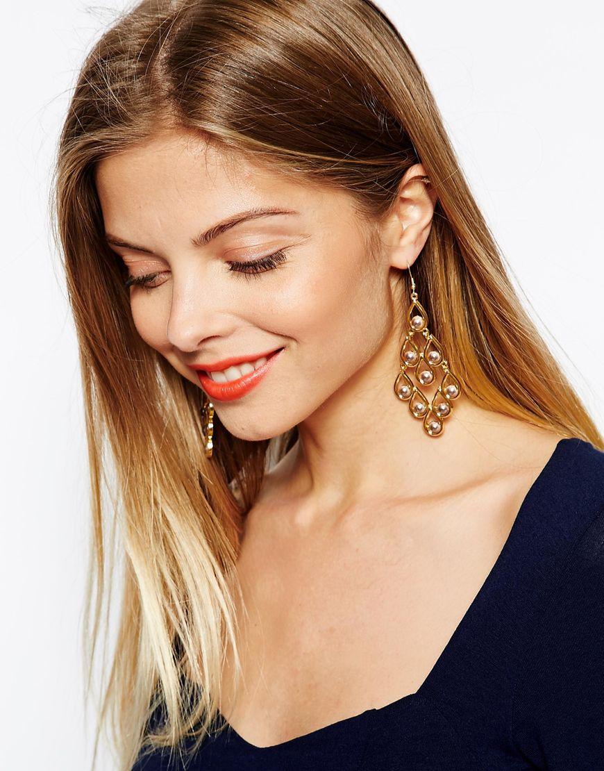 Asos Filigree Faux Pearl Chandelier Earrings in Metallic | Lyst