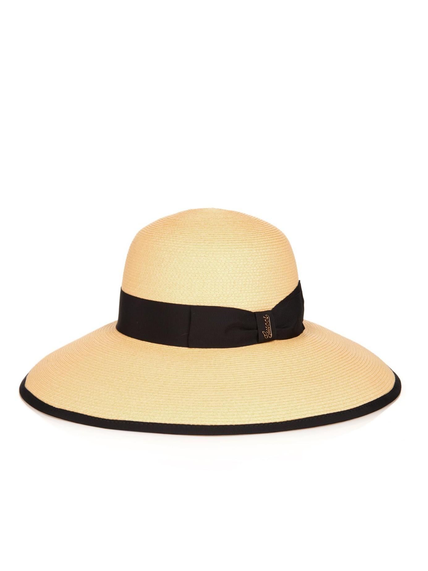 5bbda312de8e3 Gucci Wide-Brimmed Straw Hat in Black - Lyst