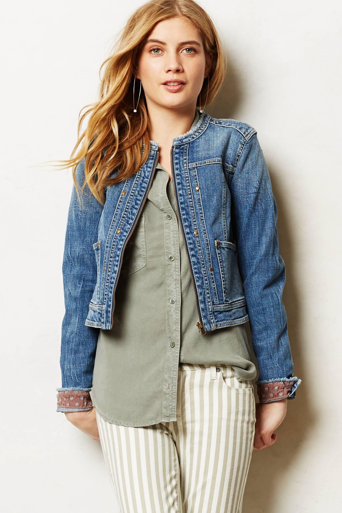 Pilcro Collarless Denim Jacket in Blue   Lyst