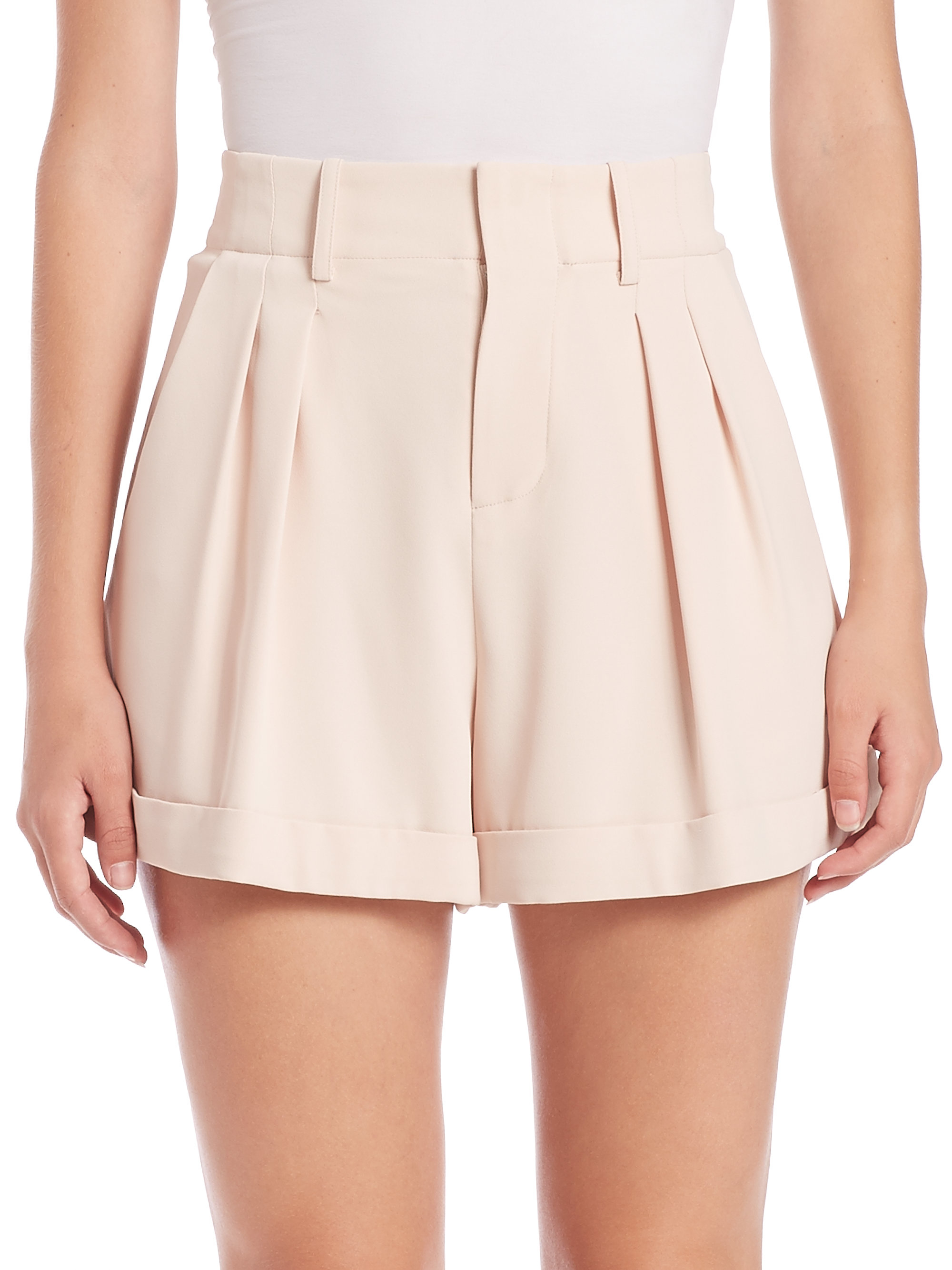 Alice + olivia Amani High-waist Pleated Shorts in Pink