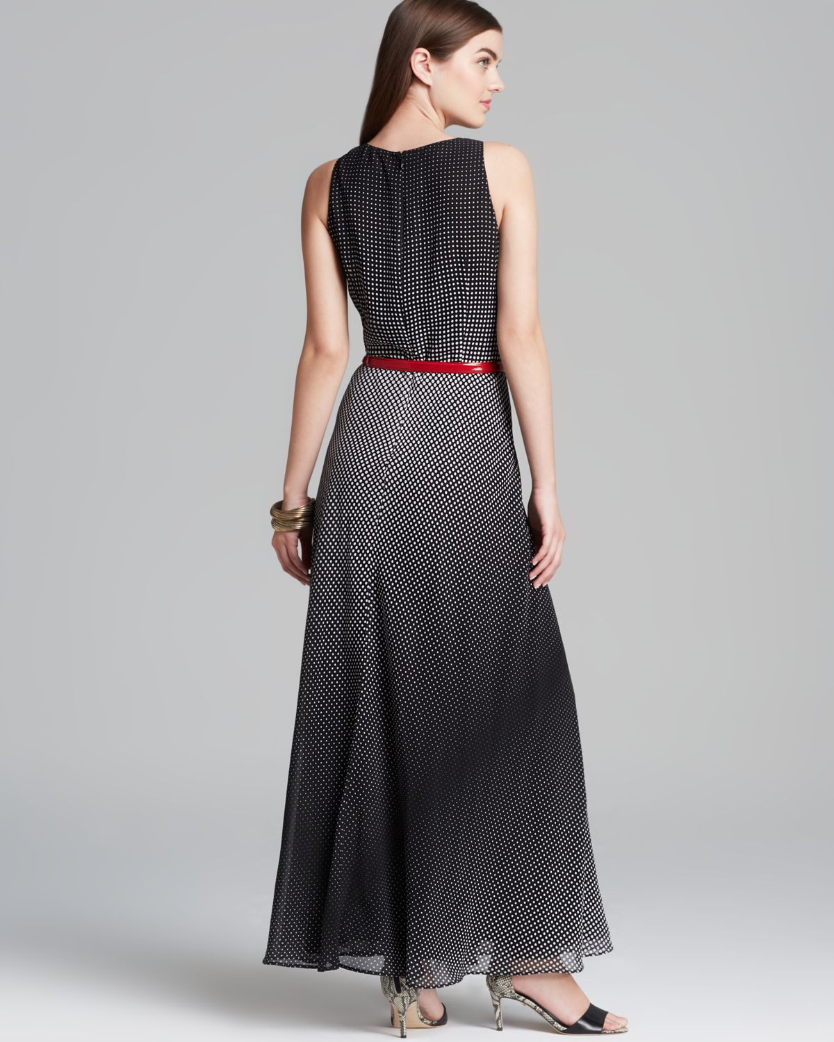 klein maxi dress dot georgette belted in black lyst