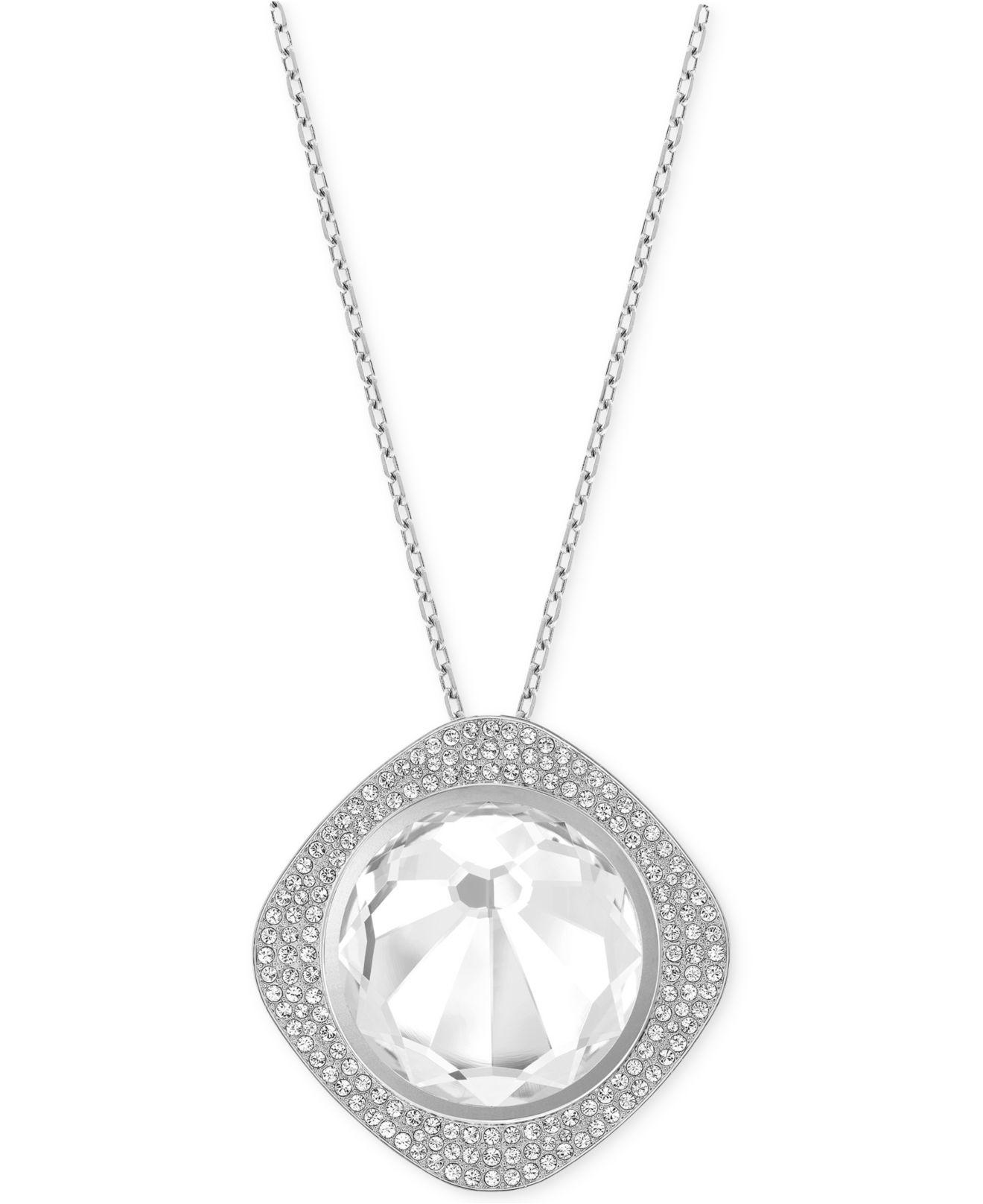 swarovski silver tone shine activity tracker vio necklace in metallic lyst. Black Bedroom Furniture Sets. Home Design Ideas