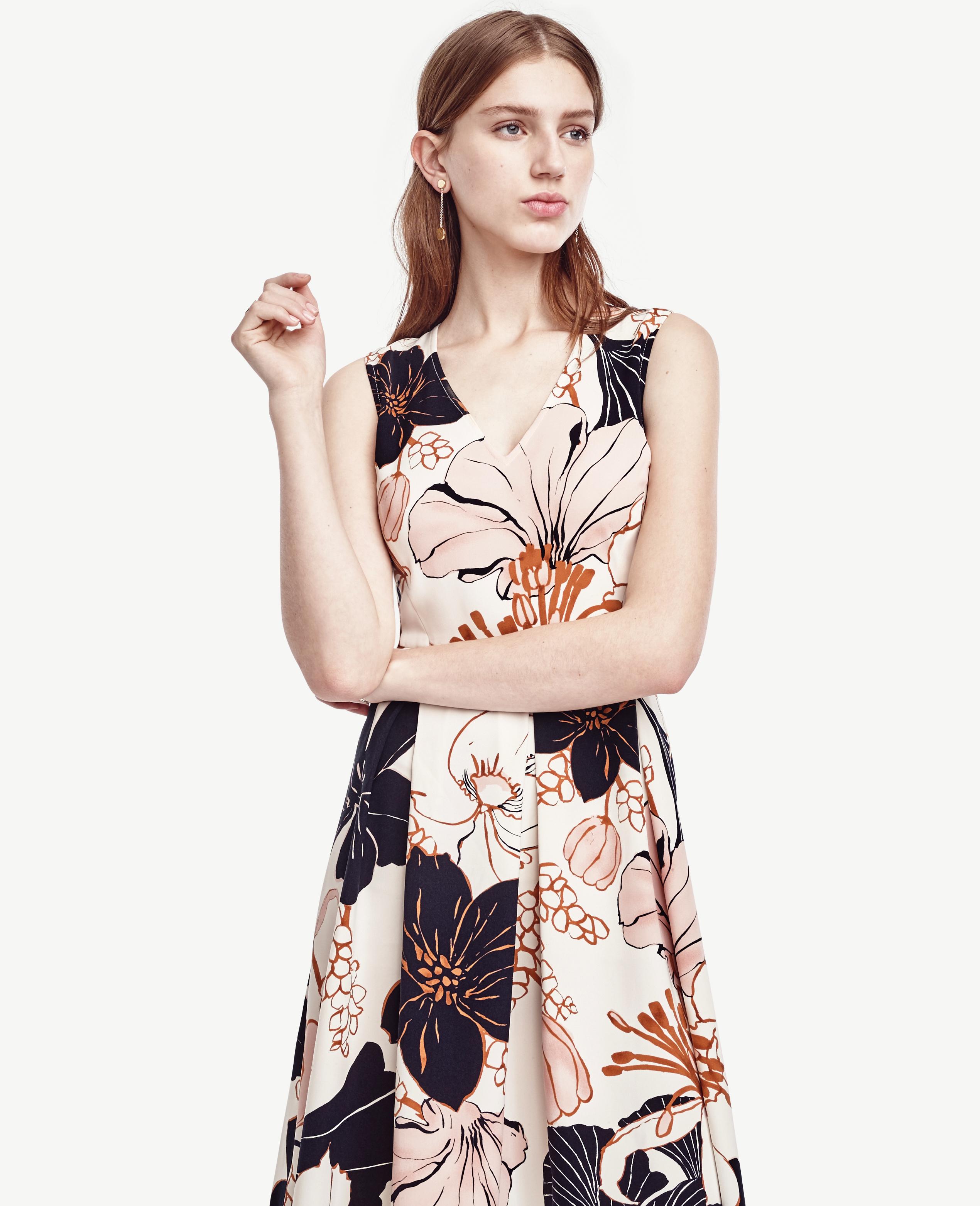 Ann Taylor Petite Blossom Flare Dress Lyst
