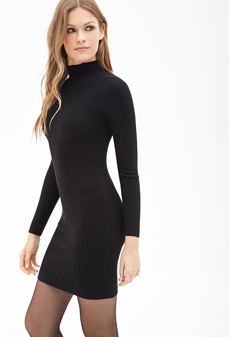 Black Ribbed Sweater Dresses