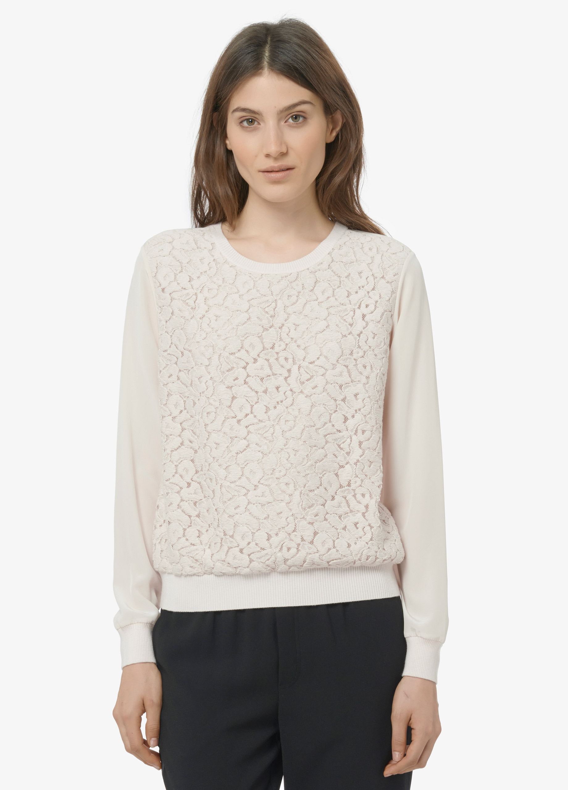 Vince Lace Overlay Crew Neck Blouse in Natural | Lyst