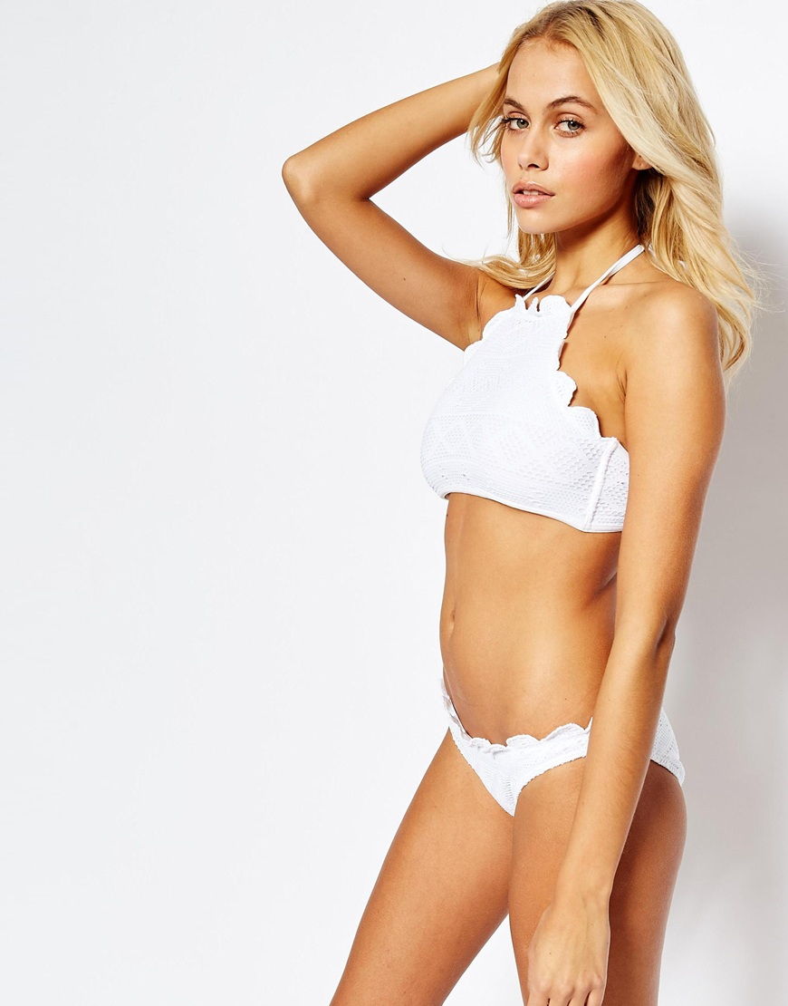 f8cfd8ba4e Lyst - ASOS Mix And Match Crochet Lace Scallop Halter Crop Bikini Top -  White in White
