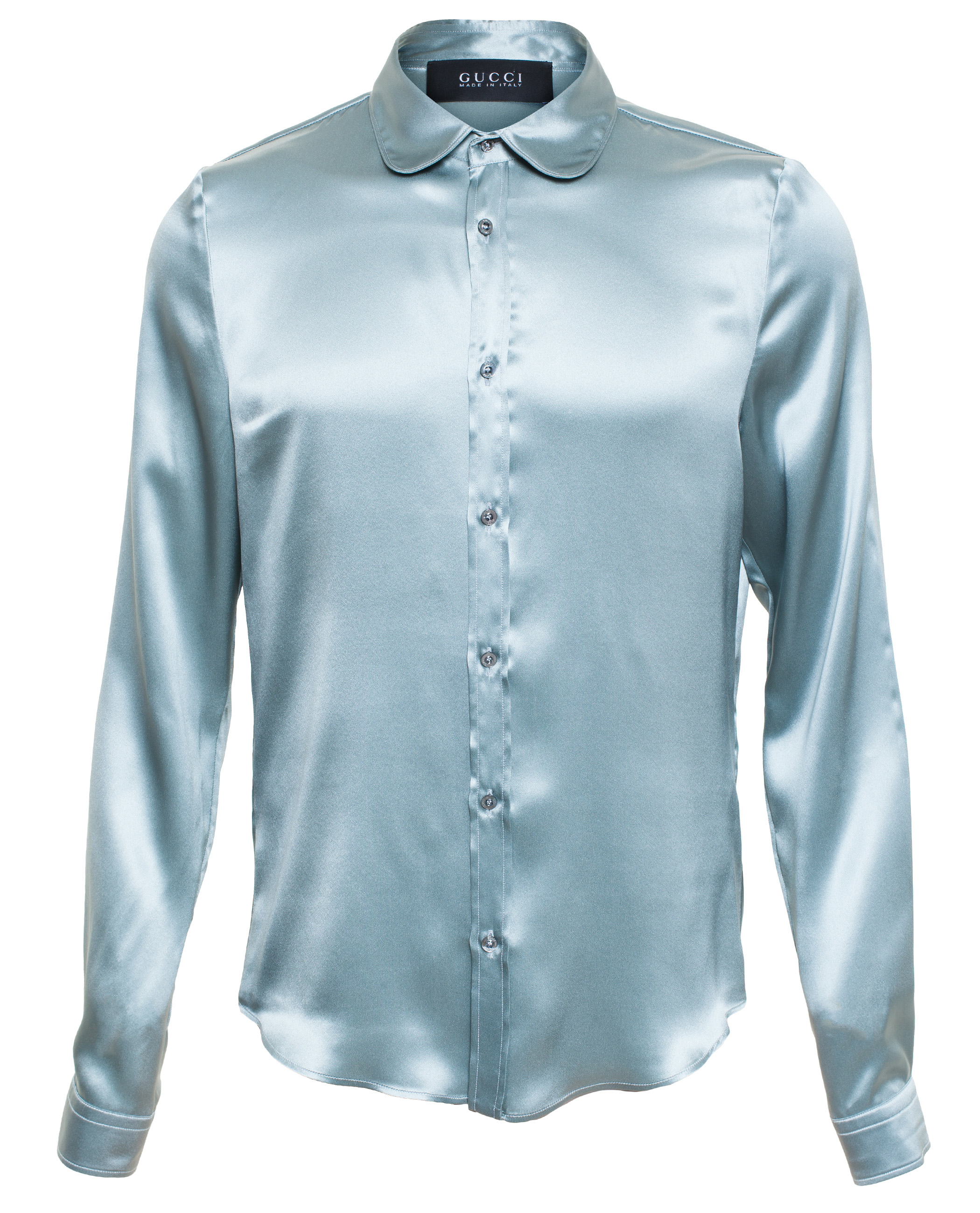 gucci satin crepe shirt in blue for lyst