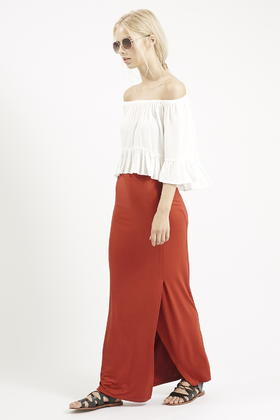 Topshop Wrap-Over Maxi Skirt in Brown | Lyst